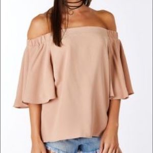 Nude off the shoulder top